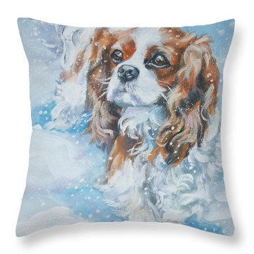 Cavalier King Charles Spaniel Blenheim In Snow Throw Pillow by Lee Ann Shepard