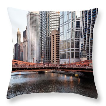 Chicago Downtown At Lasalle Street Bridge Throw Pillow by Paul Velgos
