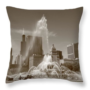 Chicago Skyline And Buckingham Fountain Throw Pillow by Frank Romeo