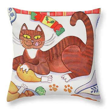 Christmas Cat And The Turkey Throw Pillow by Cathy Baxter