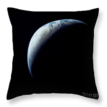 Crescent Earth Taken From The Apollo 4 Throw Pillow by Stocktrek Images