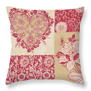 Deco Heart Red Throw Pillow by JQ Licensing