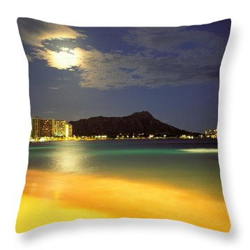 Diamond Head And Waikiki Throw Pillow by William Waterfall - Printscapes