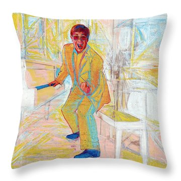 Elton John Throw Pillow by Martin Cohen