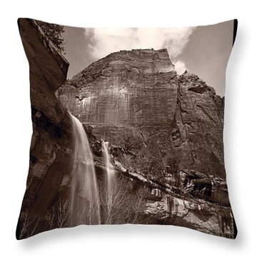 Emerald Pools Falls Zion National Park Throw Pillow by Steve Gadomski
