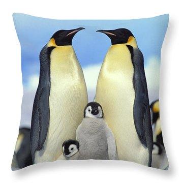 Emperor Penguin Aptenodytes Forsteri Throw Pillow by Konrad Wothe