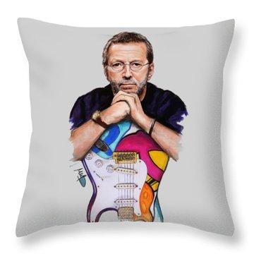 Eric Clapton Throw Pillow by Melanie D