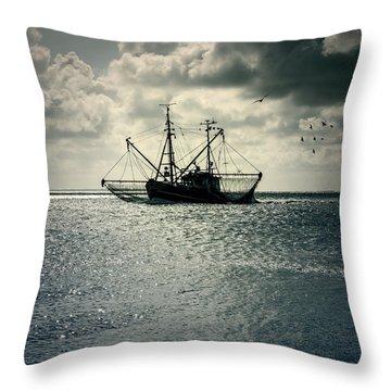 Fishing Boat Throw Pillow by Joana Kruse