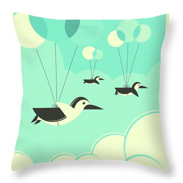 Flock Of Penguins Throw Pillow by Jazzberry Blue