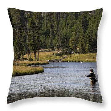 Fly Fishing In The Firehole River Yellowstone Throw Pillow by Dustin K Ryan