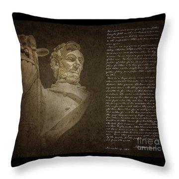 Gettysburg Address Throw Pillow by Diane Diederich