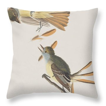 Great Crested Flycatcher Throw Pillow by John James Audubon