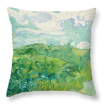 Green Wheat Fields   Auvers Throw Pillow by Vincent Van Gogh