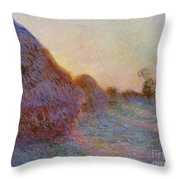 Haystacks Throw Pillow by Claude Monet