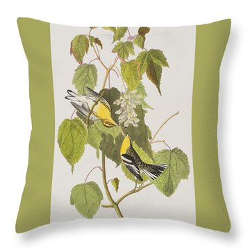 Hemlock Warbler Throw Pillow by John James Audubon