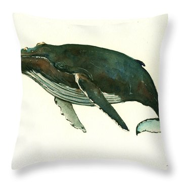 Humpback Whale  Throw Pillow by Juan  Bosco