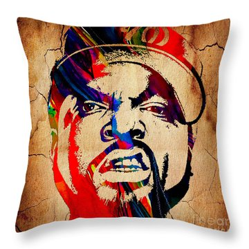 Ice Cube Straight Outta Compton Throw Pillow by Marvin Blaine
