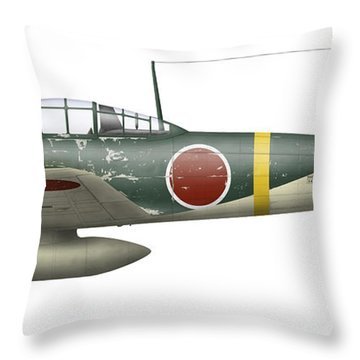 Illustration Of A Mitsubishi A6m2 Zero Throw Pillow by Inkworm