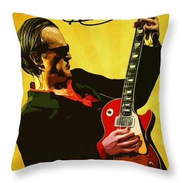 Joe Bonamassa Throw Pillow by Semih Yurdabak