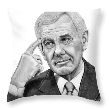 Johnny Carson Throw Pillow by Murphy Elliott