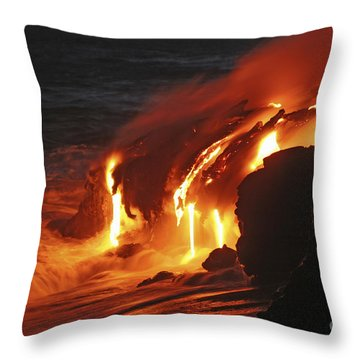 Kilauea Lava Flow Sea Entry, Big Throw Pillow by Martin Rietze