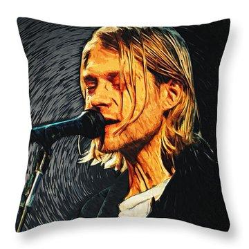Kurt Cobain Throw Pillow by Taylan Apukovska