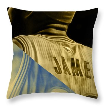 Lebron James Collection Throw Pillow by Marvin Blaine