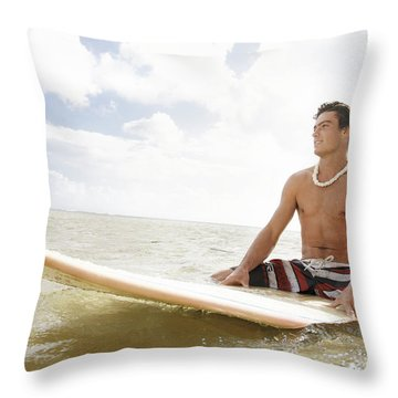 Male Surfer Throw Pillow by Brandon Tabiolo - Printscapes
