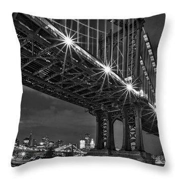 Manhattan Bridge Frames The Brooklyn Bridge Throw Pillow by Susan Candelario