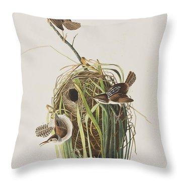 Marsh Wren  Throw Pillow by John James Audubon