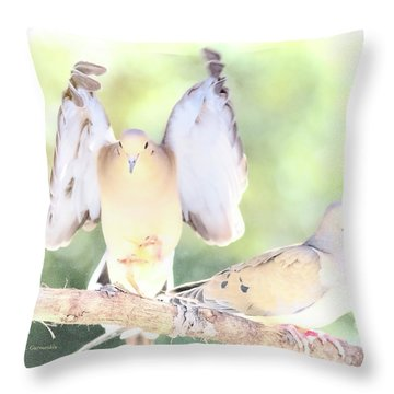 Throw Pillow featuring the digital art Mourning Dove Pair  by A Gurmankin