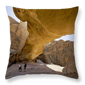Natural Arch In Wadi Rum Throw Pillow by Michele Burgess