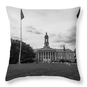 Old Main Penn State Black And White  Throw Pillow by John McGraw