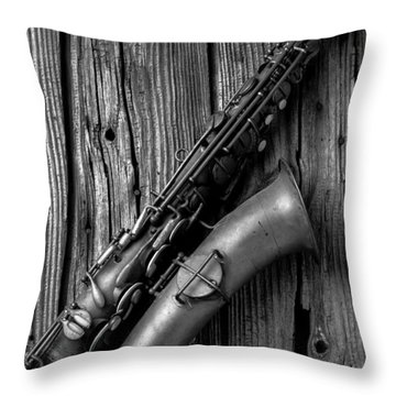 Old Sax Throw Pillow by Garry Gay