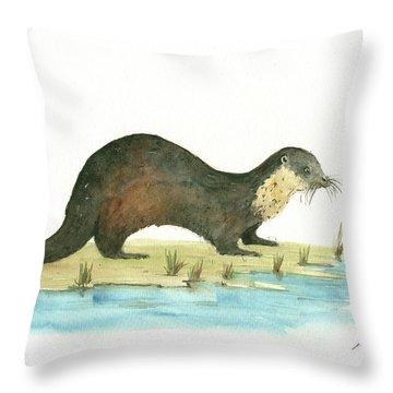 Otter Throw Pillow by Juan Bosco