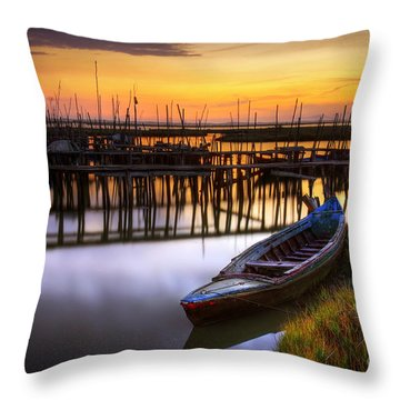Palaffite Port Throw Pillow by Carlos Caetano