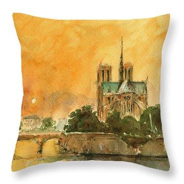 Paris Notre Dame Throw Pillow by Juan  Bosco