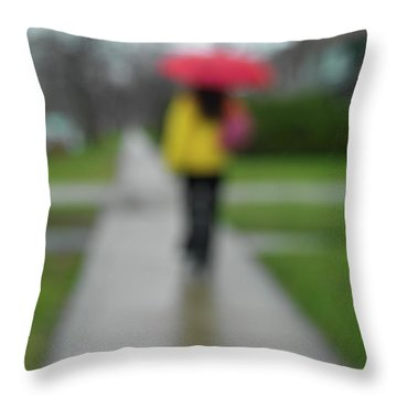People In The Rain Throw Pillow by Oleksiy Maksymenko