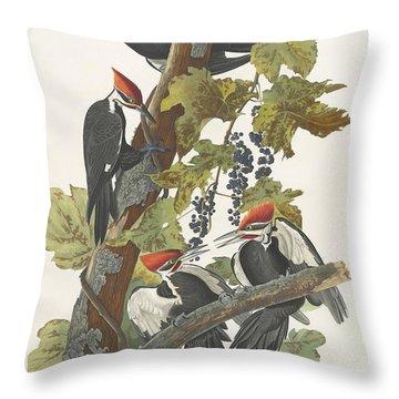 Pileated Woodpecker Throw Pillow by John James Audubon