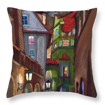 Prague Old Street  Throw Pillow by Yuriy  Shevchuk