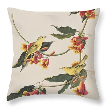 Rathbone Warbler Throw Pillow by John James Audubon