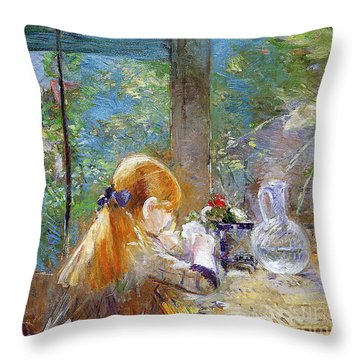 Red-haired Girl Sitting On A Veranda Throw Pillow by Berthe Morisot