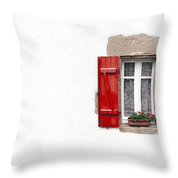 Red Shuttered Window On White Throw Pillow by Jane Rix