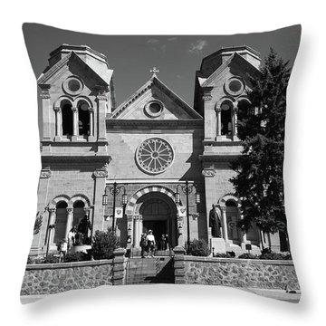 Santa Fe - Basilica Of St. Francis Of Assisi Throw Pillow by Frank Romeo