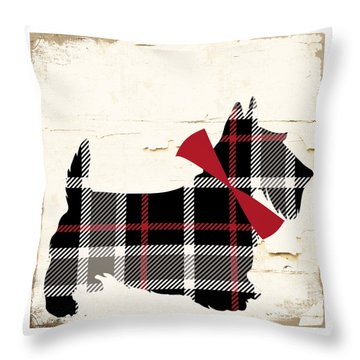 Scottish Terrier Tartan Plaid Throw Pillow by Mindy Sommers