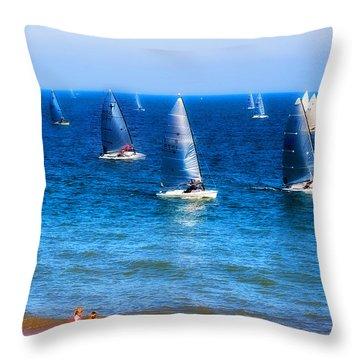 Seaside Fun Throw Pillow by Mal Bray