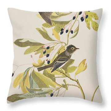 Small Green Crested Flycatcher Throw Pillow by John James Audubon