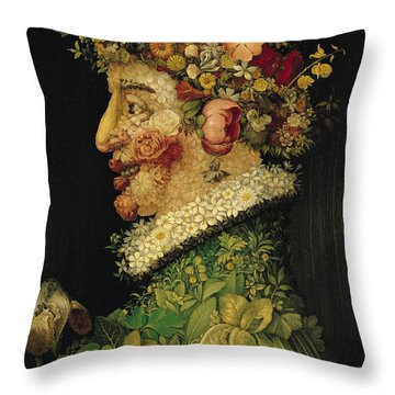 Spring Throw Pillow by Giuseppe Arcimboldo