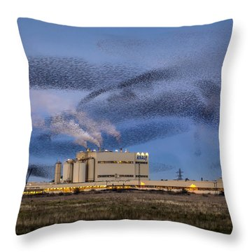 Starling Mumuration Throw Pillow by Ian Hufton