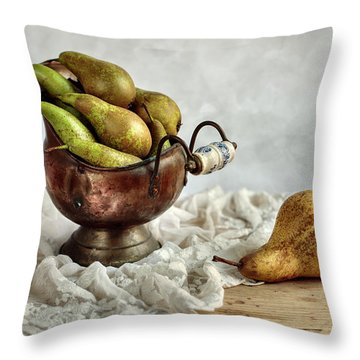 Still-life With Pears Throw Pillow by Nailia Schwarz